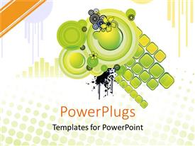 PowerPlugs: PowerPoint template with abstract green and black circles and squares with yellow flowers