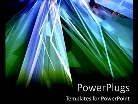 PowerPoint template displaying abstract green and blue triangles on black background