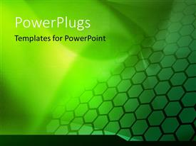 PowerPoint template displaying a abstract green galaxy waves background