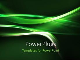 PowerPlugs: PowerPoint template with abstract green light folds on solid green background