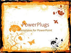 PowerPoint template displaying abstract grunge background with flowers and bee in orange, red and black