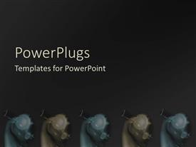 PowerPlugs: PowerPoint template with an abstract hazy black background with five similar characters
