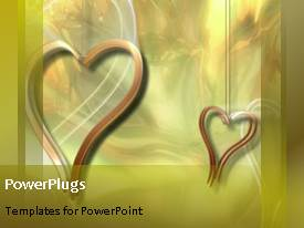 PowerPoint template displaying abstract heart pendant hanging and dangling from a rope