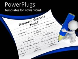 PowerPoint template displaying abstract human object writting a business success model using a mighty pencil