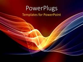 PowerPlugs: PowerPoint template with abstract luminous waves with brown color