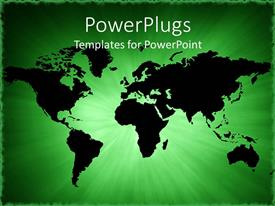 PowerPoint template displaying abstract map of the world on a green background