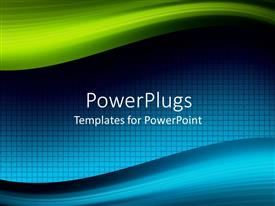 PowerPlugs: PowerPoint template with abstract mix of green and blue on square patterned background framed by waving bands