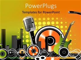 PowerPoint template displaying  abstract music depiction with speakers equalizer and musical instruments