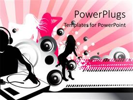 PowerPoint template displaying an abstract musical theme background with people and speakers