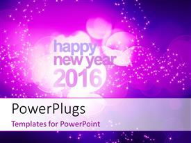 PowerPlugs: PowerPoint template with abstract new year 2016 concept with purple bokeh and sparkling effect in the background