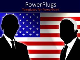 PowerPlugs: PowerPoint template with abstract Obama and McCain figures with American flag background