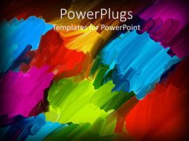 PowerPlugs: PowerPoint template with abstract oil brush art background in blue red orange purple green