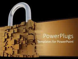 Beautiful slide set with abstract padlock made up of brown cubes, brown streak, black border