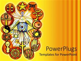 PowerPoint template displaying abstract painting showing signs and symbols of different religions
