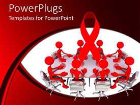 PowerPlugs: PowerPoint template with abstract people sits across table for presentation on red and white background