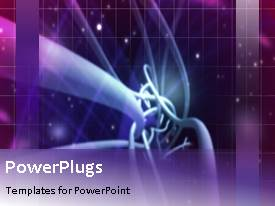 PowerPlugs: PowerPoint template with an abstract purple background with bright yellow lines and cubes