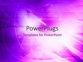 PowerPoint template displaying abstract purple themed background with light glow and wave patterns