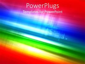 PowerPlugs: PowerPoint template with abstract rainbow colored bands with fading city buildings in the background