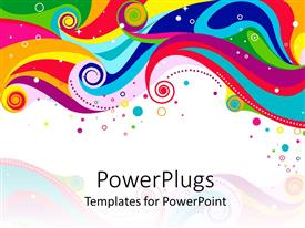 PowerPoint template displaying abstract rainbow colored waves, circles and dots on white background