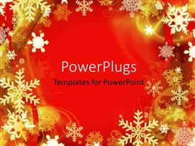 PowerPlugs: PowerPoint template with abstract red Christmas background with many snowflakes
