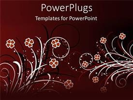 PowerPoint template displaying abstract red, white, and black flowers