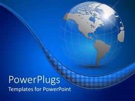 PowerPlugs: PowerPoint template with abstract representation of the Earth with map of continenst showing on the blue background