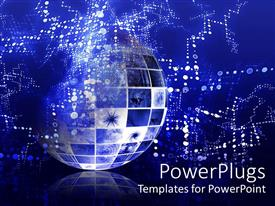 PowerPlugs: PowerPoint template with abstract representation of Globe depicting technical data information interchange, glowing dots on blue background