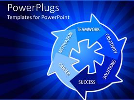 PowerPlugs: PowerPoint template with abstract shape with words motivation, teamwork, creativity, solutions, success, career on blue background