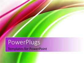 PowerPlugs: PowerPoint template with abstract shiny green and magenta color curves, with white color