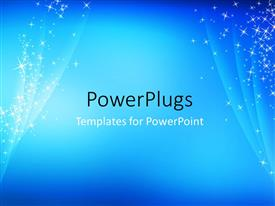 PowerPoint template displaying abstract, simple, cool, blue sparkling background