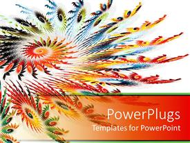 PowerPlugs: PowerPoint template with abstract spiral made of rainbow colors on white background