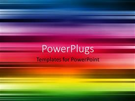 PowerPoint template displaying abstract stripes in rainbow colors with interspersed dark spaces