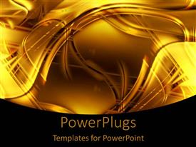 PowerPlugs: PowerPoint template with abstract swirling background with gold and black lines