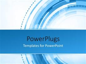 PowerPoint template displaying abstract technology concept with blue and white colors