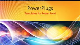 PowerPoint template displaying abstract technology waves and lights, with bokeh effect