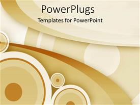 PowerPoint template displaying abstract theme with brown concentric circles and waves