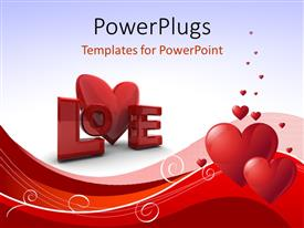 PowerPlugs: PowerPoint template with abstract Valentines Day background with heart shapes, curves and word Love