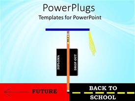 PowerPlugs: PowerPoint template with abstract view of a brown straight arrow with a blue graduation cap on it