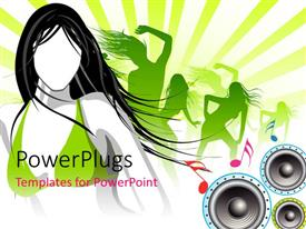 PowerPlugs: PowerPoint template with abstract view of some ladies dancing over a music theme