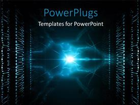 PowerPoint template displaying abstract view of lots of binary and shinning blue light