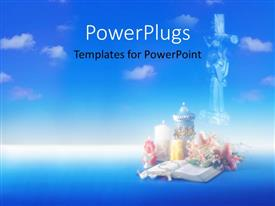 PowerPlugs: PowerPoint template with abstract view of an open bible with candles and crucifix