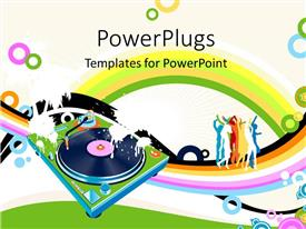 PowerPlugs: PowerPoint template with an abstract view of people dancing on a music theme