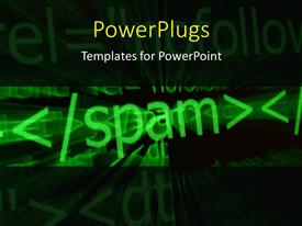 PowerPlugs: PowerPoint template with abstract view of a text which spells out the word ' spam'