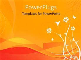 PowerPoint template displaying an abstract view of white flowers and butterfly images