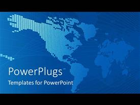 PowerPlugs: PowerPoint template with abstract world map on blue background with black framing
