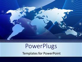 PowerPoint template displaying abstract World map technology blue background