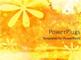 PowerPoint template displaying abstract yellow background with flowers and leaves