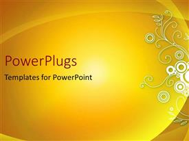 PowerPoint template displaying an abstract yellow floral background with nice curves