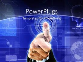 PowerPlugs: PowerPoint template with depiction of biometric security with thumb print scan