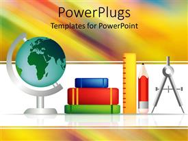PowerPoint template displaying all the accessories to solve the mathematical problems